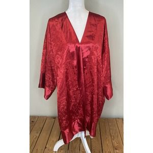 VTG Victoria's Secret Red Silky Kimono Robe OS